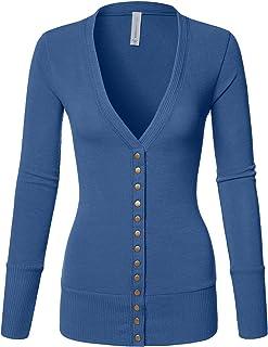 962e8b3629 Luna Flower Women s V-Neck Snap Button Long Sleeve Soft Basic Knit Snap Cardigan  Sweater
