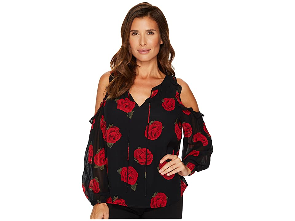 Sanctuary Blaire Bare Shoulder Top (Paris Roses Black) Women