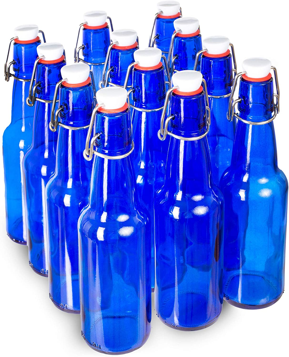 11 oz. Blue Glass New item Grolsch Beer with Seal Airtight - Bottles New item Swin