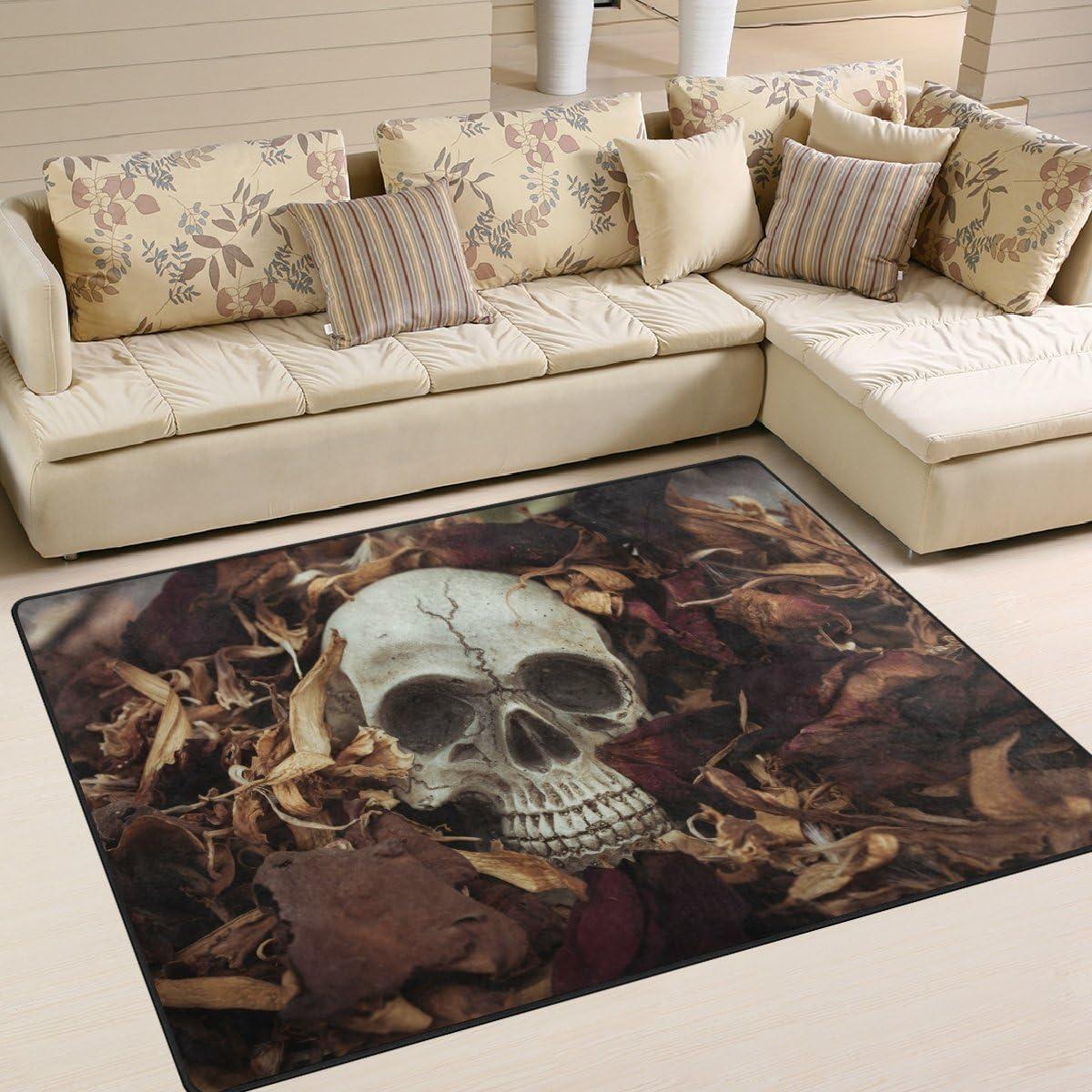 Great interest ALAZA Vintage Skull Knife Leaf Area Rug for Max 51% OFF Mat Living Rugs Room