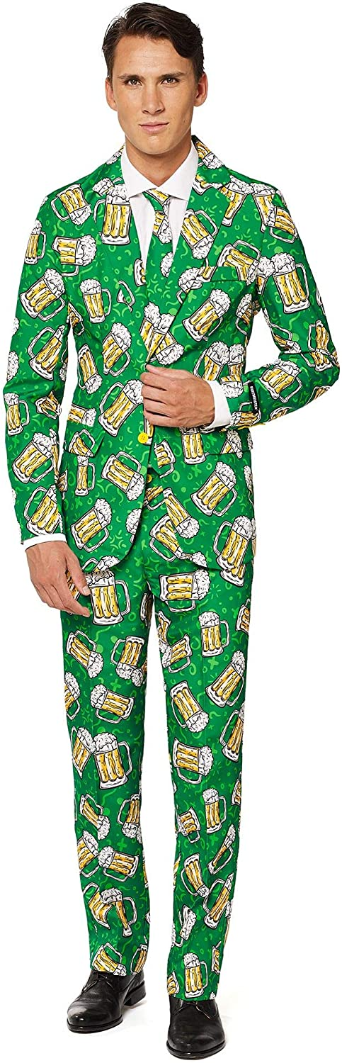 SUITMEISTER Funny Suits for Men - Beer Suit Print - Comes with Jacket, Pants & Tie - XXL