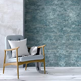 Italian Portofino wallcoverings Embossed Plain Vinyl Non-Woven Wallpaper Rustic Navy Blue Satin with Black Stria Lines Modern Textured Faux Concrete Plaster Textures Double Rolls Paste The Wall only