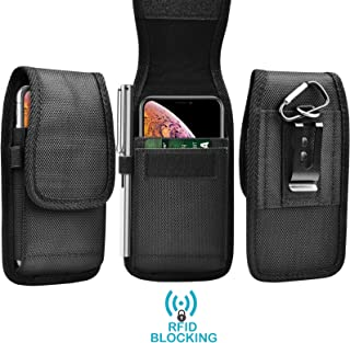Tekcoo Phone Holster for iPhone 11 Pro Max/Galaxy Note 10 Plus / A20 / A50 / LG G8X / Moto G7 Power/LG Stylo 5 Nylon Oxford Belt Clip Pouch Carrying RFID Wallet Case Card Holder Slots Keychain