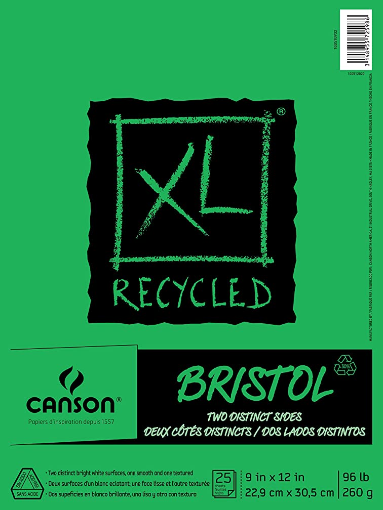 Canson XL Series Recycled Bristol Paper Pad, Dual Sided Smooth and Vellum for Pencil, Marker or Ink, Fold Over, 96 Pound, 9 x 12 In, White, 25 Sheets