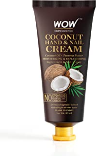 WOW Skin Science Coconut Hand & Nail Cream - Moisturizing & Replenishing - Lightweight & Non-Greasy - Quick Absorb - for A...