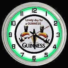 "ELG Companies LLC 16"" Guinness Beer Sign Green Neon Clock"