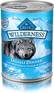 Blue Buffalo Wilderness Denali Dinner High Protein Grain Free, Natural Wet Dog Food, Wild Salmon, Venison & Halibut 12.5-Oz Can (Pack Of 12)