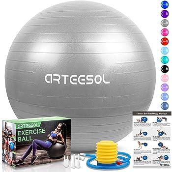arteesol Pelota de gimnasia, balón de equilibrio 45 cm/55 cm/65 cm ...
