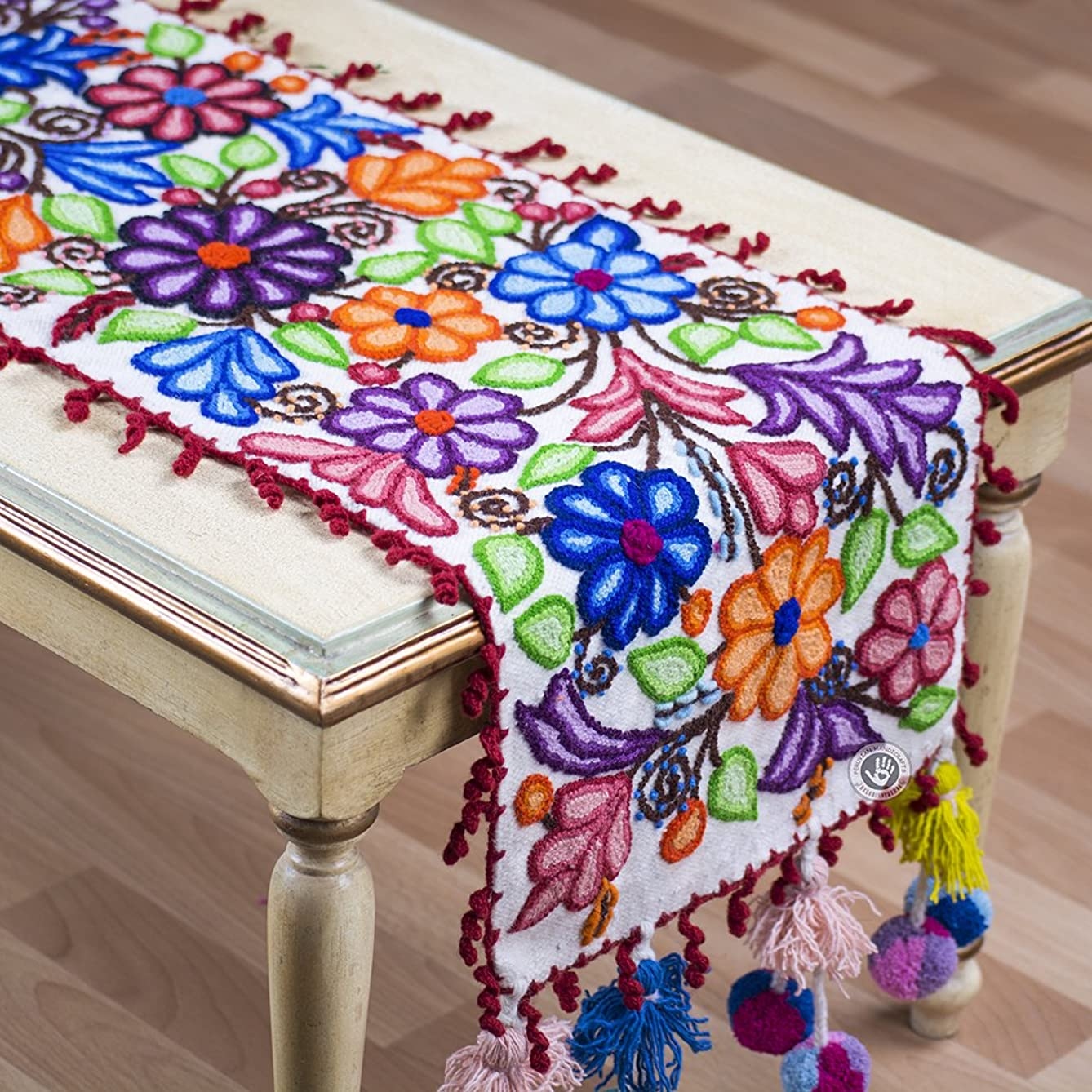 Hand Embroidered table runner patterns, Handmade Table center piece, Peruvian wide table Decor from Peru, White wool Floral Table runner
