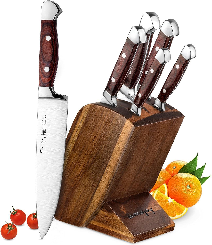 Emojoy Messerblock Set, Messerset, Kochmesser aus Edelstahl mit Ergonomischer Holzgriff, Profi Küche, Feststehend, Extra Scharf, Bestückt, 6-TLG B079FNFDK4