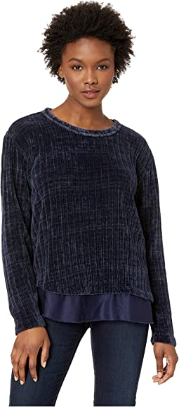 Chenille Rib Crew Neck Sweater with Satin Trim