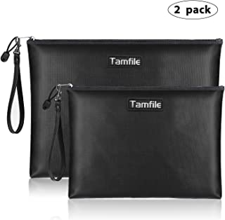 Fireproof Document Bags, Waterproof and Fireproof Money Bag with Zipper, Storage Pouch for Documents with Strap, Portable 2 Sizes, Money Safe Bags, Bank Deposit Bags for Money and Cash and Coin