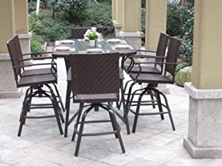 Pebble Lane Living All Weather Rust Proof Indoor/Outdoor 7 Piece Powder Coated Patio Bar Dining Set, 1 Tempered Glass Top Bar Dining Table & 6 Wicker Bar Dining Stools, Brown Mocha