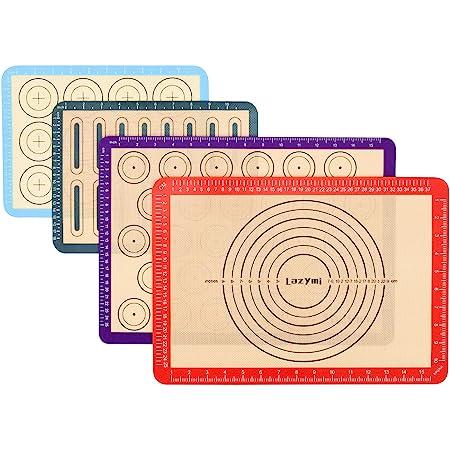 Lot de 4 Tapis de Cuisson en Silicone, Anti-Adhérent Feuille de Cuisson Patisserie avec Mesures, Tapis de Four pour Macaron/Biscuit/Pâte, Set de Table en Silicone, Réutilisable