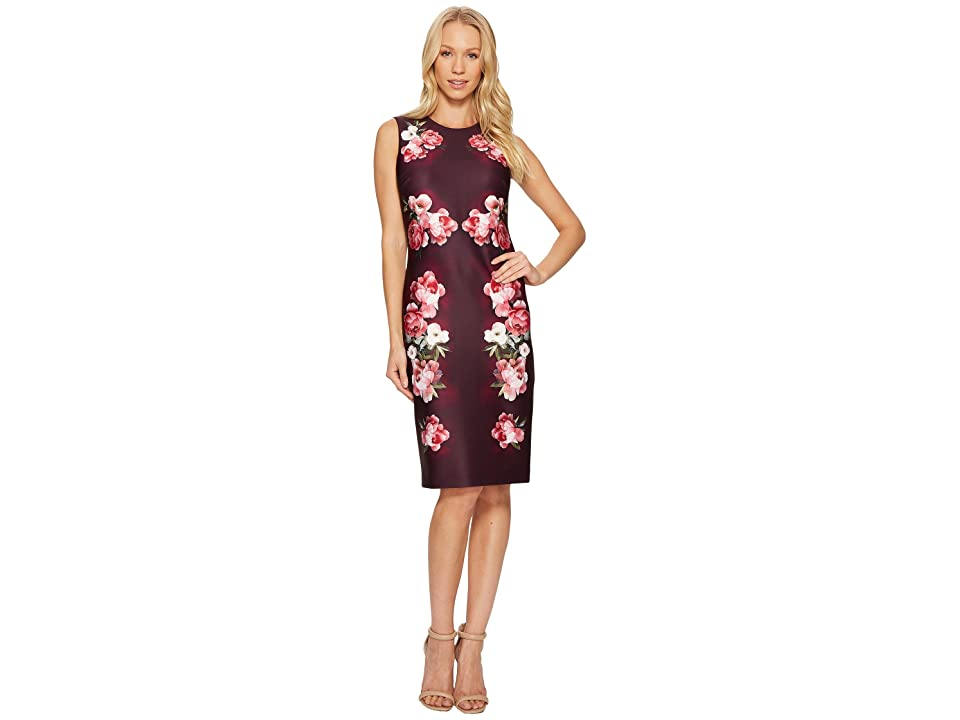 Calvin Klein Flower Border Print Sheath Dress CD7MLV6N (Aubergine Multi) Women