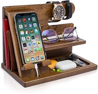 Docking Station in legno per smartphone Portachiavi Supporto portafoglio Supporto orologio Regalo da uomo Marito Anniversa...