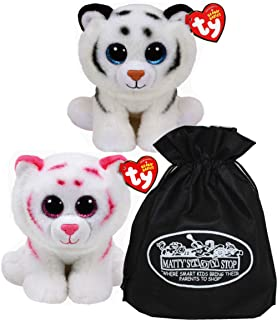 Ty Beanie Babies (Tigers Tundra & Tabor Gift Set Bundle with Bonus Matty's Toy Stop Storage Bag - 2 Pack