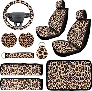 10 PCS Leopard Print Car Decorations, Include Leopard Front Seat Covers, Steering Wheel Cover, Leopard Car Coasters Cup Ho...