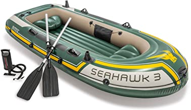 Intex Seahawk 3، مجموعه قایق تورم یا باد کردن 3 نفره با بدنه آلومینیوم و پمپ هوا خروجی بالا (آخرین مدل)
