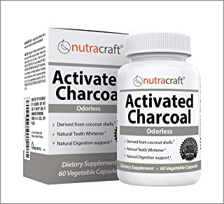 Activated Charcoal from Coconut Shells, for Gas, Bloating, Detox and Teeth Whitening - 100% Tasteless, Odourless & Natural - 60 Vegetable Capsules