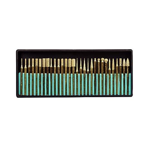 SE 82331TF 30-Piece Set of Titanium-Coated Diamond Burrs, Grits 120-