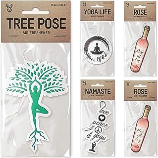 Air Freshener Bundle 5 Pack, Tipsy Yoga Theme, Tree Pose, Yoga Life, Namaste, 2X Rose, Premium Scents