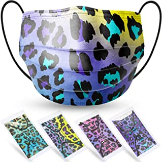 60-Pack Individually Packaged Kids' Disposable Protective Face Masks Leopard Gradient Pattern for Girls Boys Ear Loop Hidd...