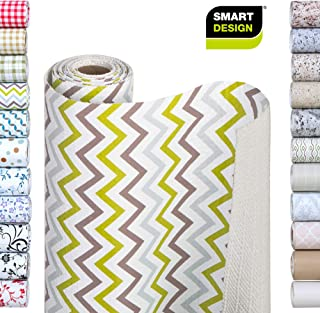 Smart Design Shelf Liner w/Bonded Grip - Wipes Clean - Cutable Material - Non Slip Design - for Shelves, Drawers, Flat Surfaces - Kitchen (12 Inch x 10 Feet) [Sea Foam Chevron]