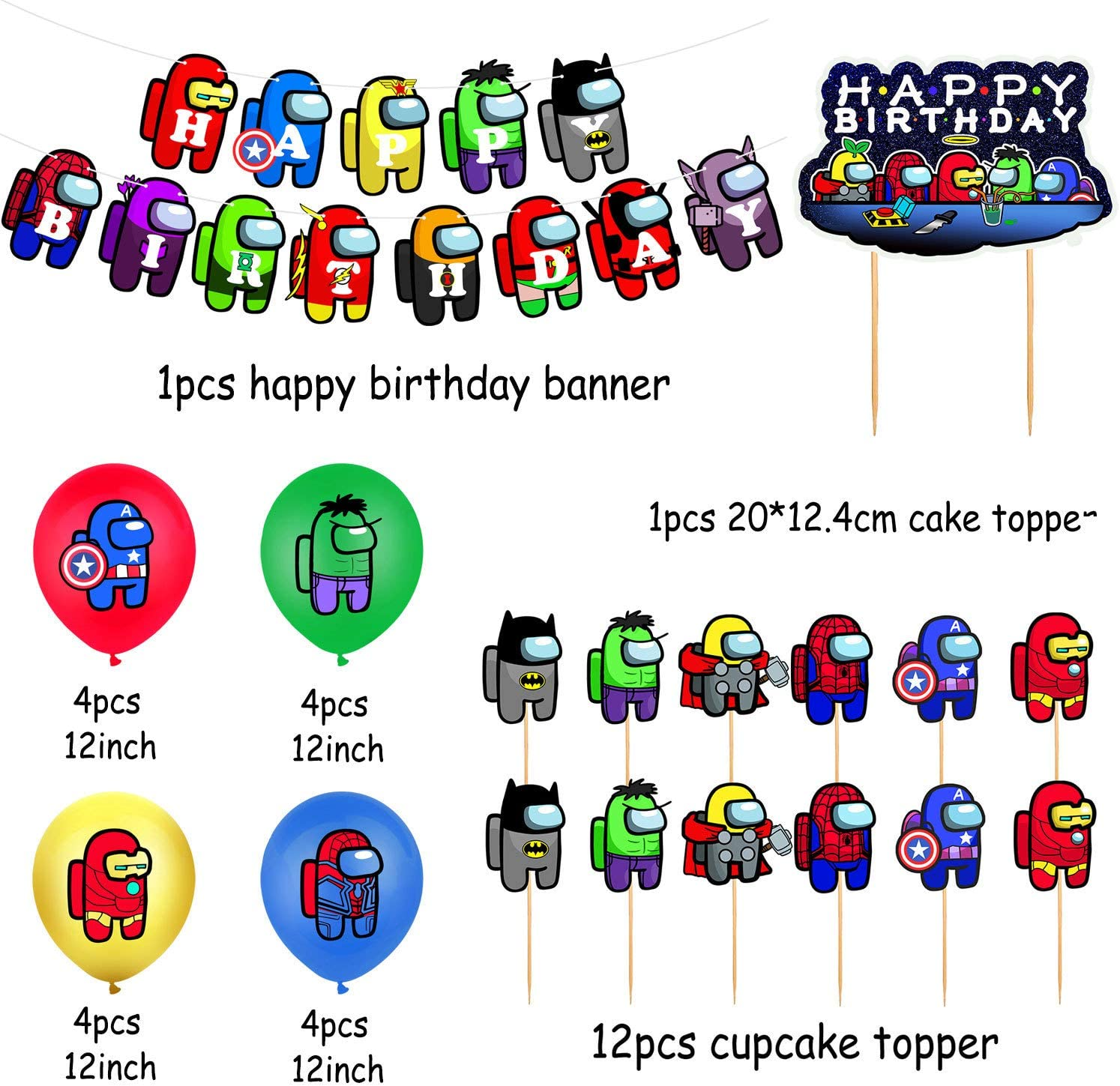 Balloons Among Us Birthday Decorations Among Us Avengers Party Supplies Video Game Set for Kids Include Happy Birthday Banner Cake Topper Cupcake Toppers