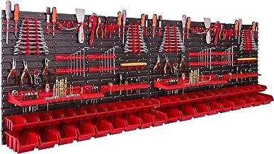 Opbergsysteem wandrek 230 x 78 cm, met gereedschapshouders, 46 stuks Stapelbakken, opslagrek, extra sterke wandplaten, uit...