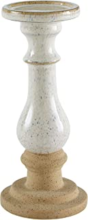 Stone & Beam Rustic Farmhouse Stoneware Pillar Candle Decor Holder - 11 Inch, White and Clay