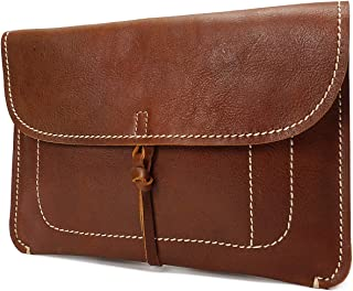 Womens Leather Clutch Bag Small Wrist Pouch Organiser A5 Size Case H8063 Tan