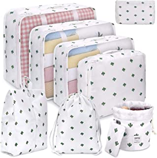 Packing Cubes for Travel, 8Pcs Compression Travel Cubes Set Foldable Suitcase Organizer Lightweight Luggage Storage Bag