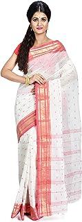 SareesofBengal Women's Bengal Cotton Tangail Tant Jamdani Handloom Saree Red And White Laal Paar