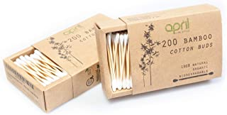 400 pack Bulk Organic Cotton Bamboo Buds | Biodegradable Plastic Free Cotton Swabs for Ear Cleaning, Makeup and Cleaning small appliances | Eco Friendly Packaging | Organic | Safe | Sustainable | APRIL LIFESTYLE (2 pack, 2 x 200)