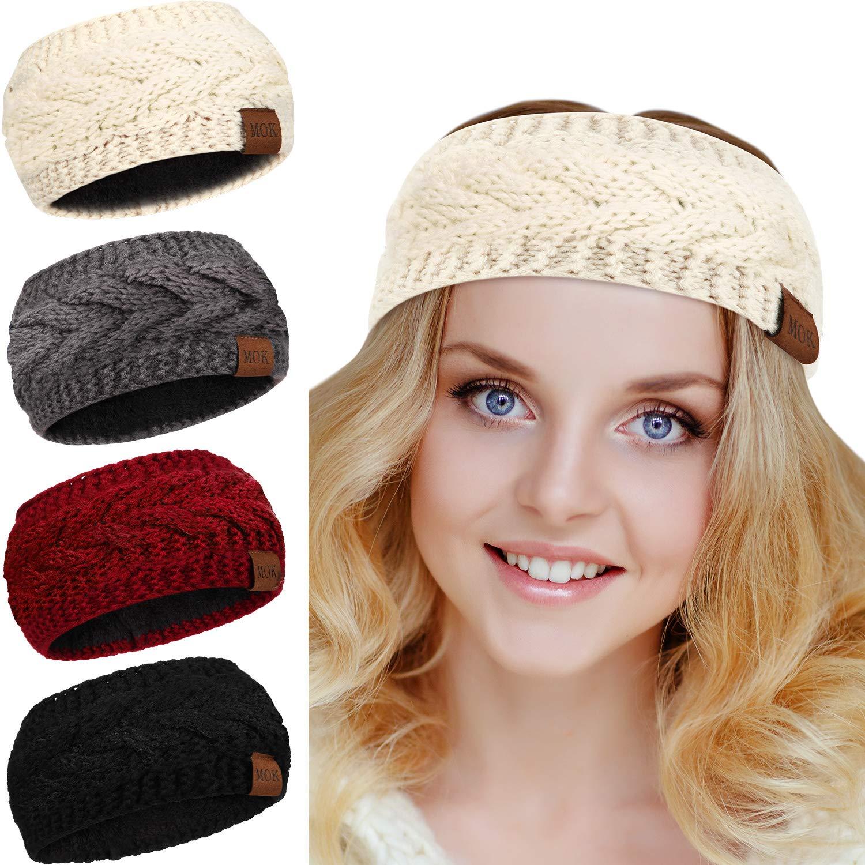 4 Piece Womens Winter Warm Cable Knit Fuzzy Lined Head Wrap Ear Warmer Headband