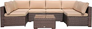 10 Piece Outdoor Patio Conversation Sofa Furniture Sets, Stamo All Weather Coffee PE Rattan Wicker Cushioned Sectional Sofa Chairs with Glass Coffee Table, Beige