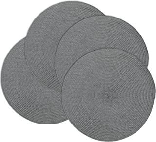 Doupoo Round Place Mats for Kitchen Table,Vinyl Woven Placemats Heat Resistant Table mats (4, Dark Grey Set of 4)