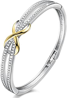 14K Gold Plated Encounter Bangle Bracelet for Women Girls,Crystals from Swarovski,Infinity Lucky Endless Love to her Xmas Thnaksgiving Day Mom Wife Gift New Year