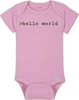 Coding Baby Onesie® - >hello world - HTML Computer Nerd Geek Bodysuit - Handmade Baby Bodysuit For Boys And Girls - Baby Shower Gift Idea