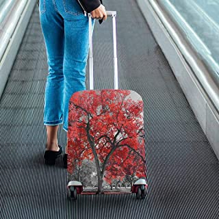 Big red tree in a black and white landscape Print on Suitcase Protectors Travel Luggage Covers Fit 18-28 Inch Luggage