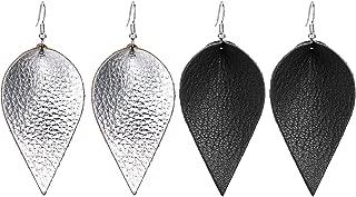 Genuine Leather Leaf Earrings Teardrop Petal Drop Pierced Earrings No Faux For Women