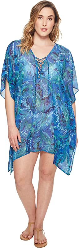 LAUREN Ralph Lauren - Plus Size Exotic Paisley Crinkle Laced Tunic Cover-Up