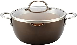 Ayesha Curry Home Collection Nonstick Casserole Dish/Casserole Pan with Lid - 5.5 Quart, Brown Sugar