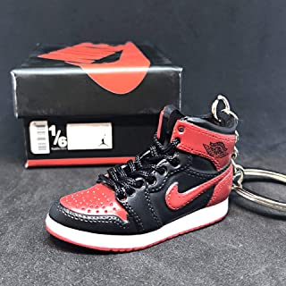 Air Jordan I 1 Retro High Bred Black Red OG Sneakers Shoes 3D Keychain Figure + Shoe Box