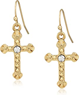 14k gold dipped crystal accent religious crucifix cross drop earrings