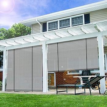 E&K Sunrise Roll up Shade Roller Shade 6'Wx6'H Porch Pergola Privacy Screen Roll up Blinds Sun Shade for Deck Gazebo Patio Back Yard Outdoor Sun Shade Grey