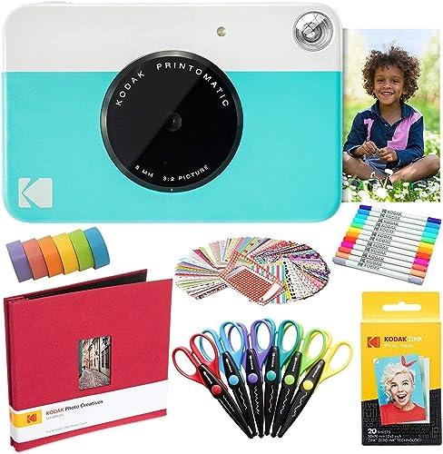 Kodak Printomatic Instant Camera (Blue) Art Bundle + Zink Paper (20 Sheets) + 8x8 Cloth Scrapbook + 12 Twin Tip Markers + 100 Border Stickers + 6 Decorative Scissors + Washi Tape (AMZRODOMATICK4BL)