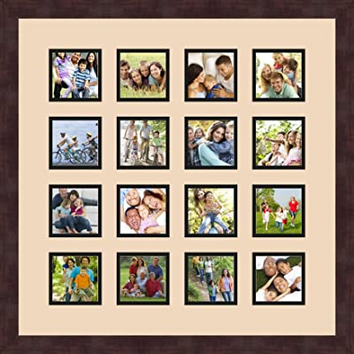 Art to Frames Double-Multimat-802-776//89-FRBW26061 Collage Frame Photo Mat Double Mat with 13-5x7 Openings and Espresso Frame