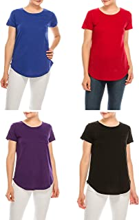 Urban Diction (Pack of 4 Women's Essential Solid Colors Basic Scoop Neck Tees